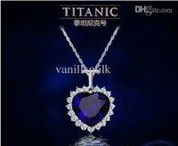 Precio de Colgante de zafiro titánica-Comercio al por mayor de Lujo Corazón de cristal de zafiro del Titanic collar de cadena de la joyería pendiente de la Plata