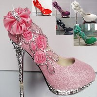 Wholesale New High Women s Shoes With white wedding shoes pink bride wedding shoes green red diamond wedding shoes