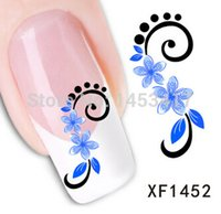 beauty happiness - Blue lace Wedding Art Nail Sticker Gel Beauty Decal polish blossoming flower nature garden happiness rococo bridesmaid F1452