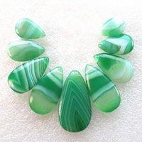 Nuevos 9pcs Naturales / Verde determinado de Onyx de la ágata de la lágrima de la piedra preciosa de granos de los colgantes Collares Conjuntos para Hacer WholesaleJewelry