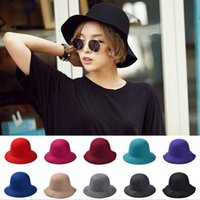 Wholesale Fashion new lady hat autumn winter retro British style pure wool bowler hat millinery hat