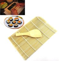 Wholesale 2015 Sushi Rolling Maker Bamboo Material Roller DIY Mat and A Rice Paddle Instantly impressing family and friends Freeship