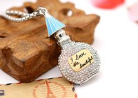 american beauty perfume - 50pcs DHL Free Dimond Perfume Bottle Pendant Necklace Gold Plated Jewelry Fasion Beauty Crystal Necklace For Women I love The Beautiful