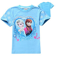 Wholesale In Stock Frozen T Shirt Short Sleeve Children Summer Clothes Boys Girls Cotton Plain Tee colors