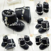 Wholesale 20142014Toddler Baby Boy Girl BLK Leopard Fleece Snow Boots Soft Sole Booties ShoesFree Drop Shipping