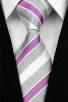 Wholesale NT0054 Man s Brand New Purple Gray White Fashion Silk Polyester Smooth Woven Tie Classic Casual Business Wedding Party Necktie