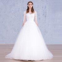 ball quarter - vestido de noiva Wedding Dresses New Arrival Bateau Three Quarter Sleeves Lace Appliques Custom Cheap White Ball Gown Bridal Gowns