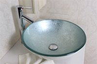 art glass vessel sink - Silver foiled round art Tempered glass Vessel sink with chrome faucet Set N