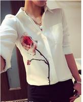 Wholesale Hot New Blusas Ladies OL Elegant women summer tops Lapel Collar Floral Print chiffon shirt Blouse