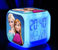 Wholesale Free DHL New LED Colors Change Digital Alarm Clock Frozen Anna and Elsa Thermometer Night Colorful Glowing Mini Clock With Retail Box