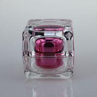 acrylic cosmetic jars - 30ml Hot Pink Crystal square acrylic jar square bottles online ml square cosmetic jar ml empty square plastic jar