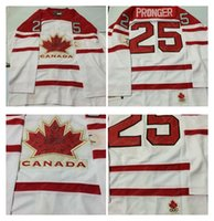 Cheap Mens #25 Pronger White 2010 Canada Team Vancouver Winter Olympic Hockey Jerseys Ice International Sports Stitched Premier Authentic Sports