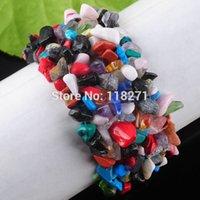 Precio de Chip stone bracelet-el envío al por mayor-Libre multicolores granos de las virutas Jasper tramo de piedra pulsera 7