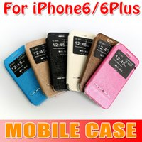 Wholesale Colorful leather case with Open Window Official Flip Cover Case for iphone for plus iphone6 Multi Colors sexy girls