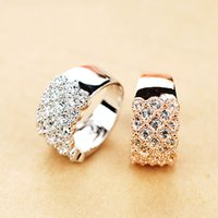 Asian & East Indian rhodium plated jewelry - R6390 Elegant Micro Crystal Rings Zinc Alloy K Champagne Gold Imitation Rhodium Plated With Austria Crystal Fashion Jewelry