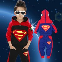 best fleece jackets - best selling Superman Spiderman Children Clothing suits spider man sports set boys hoodies pants Sweatshirt trousers winter fleece clothes