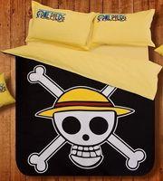 Cheap Cartoon Skull Bed Sheets Duvet Cover Quilt Laguan Bedding Bed Four Piece Set Black