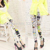 Wholesale Fashion Womens Floral Sunflower Leggings High Waist Stretch Pants Hot Selling