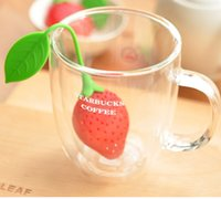 Wholesale pieces lovely Silicone Strawberry Design Tea Strainer Herbal Spice Infuser Filter Tools tea bag ball sticks