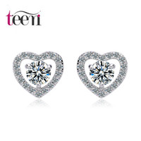 arrow diamond shape - Teemi Brand Romantic Fashion Heart Shape Hug mm ct Bling Hearts and Arrows CZ Diamond White Gold Plated Women Stud Earrings