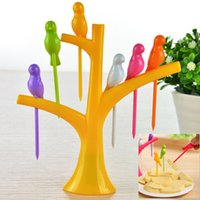 Wholesale Sets New Creative Treetop Bracket Bird Shape Fruit Fork Set Environmental Protection Easy Placement Fruit Toothpick Desktop