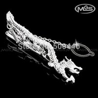Wholesale Chinese National Flying Dragon Silver Shirt Tie Bar Clip Clasp