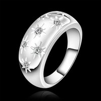 Wholesale Luxury new hot sell sterling Silver fashion charm retro Beautiful Cute pretty LADY Diamond Austria Crystal Wedding ring jewelry R504