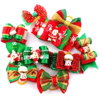 Wholesale MOQ Christmas Pet Dog Cat Hair Bows Puppy Fur Grooming Products Festival Accessories With Rubber Band