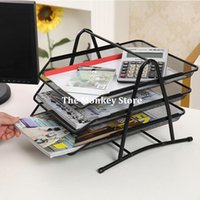 barbed wire books - New Black Office Supplies Barbed Wire Three Letter File For Mat Books Notepad Holder For School Desk Decor F1745