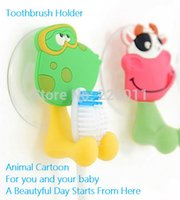 Wholesale cute Cartoon sucker toothbrush holder suction hooks bathroom set accessories Eco Friendly