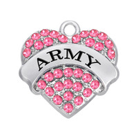 army necklace charms - New Fashion Easy to diy a military series army DIY charm four color crystals jewelry making fit for necklace or brace