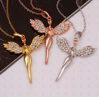 angel - European and American jewelry angel pendant necklace women girl with rhinestone necklace K rose gold plated jewelry necklace