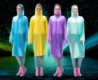 Wholesale Thicken One time Raincoat Rope and Buttons Fashion Disposable PE Raincoats Poncho Raincoat Travel Rain Coat Rain Wear Travel Rain Coat