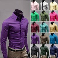Wholesale 2015 new men s shirts men s casual fashion candy colored long sleeved shirts color options