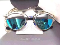 Wholesale 2015 Newest So Real Vintage Sun Glasses DHL New Retro Round Sunglasses Women Brand Designer with Logo
