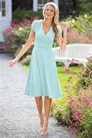 available light - 2015 Short Modest Bridesmaid Dress With short Sleeves Knee Length Light Blue Chiffon Wedding Party Dress Available Plus Size Fast Shipping