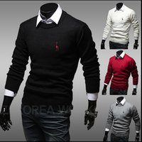 Wholesale Hot Sale Small Horse Men Sweater Brand Winter Autumn Long Knitwear Men s Tops Slim Pullovers Jumper Cashmere Sweaters