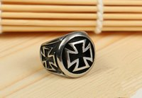 Wholesale GJ006 Medal Solitaire Men s Ring Punk Gothic Rock And Roll Christian Cross Black Onyx Titanium Steel Party Gift Halloween