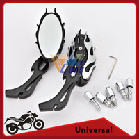 Wholesale Cafe Racer Custom Black OvalChopper Motorcycle Rearview Side Mirror Universal Motorcycle Accessories order lt no track