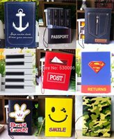 Wholesale 9 Patterns Cool Cartoon D Anchor Piano Smile Chocolate Short Design Travel Passport Holder Cover ID Card Case Bag Covers