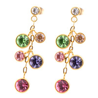 Wholesale 18K Gold Plated L Stainless Steel Jewelry multicolor Crystal Earrings on wedding band for women s gift women accessories