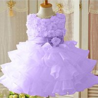 Wholesale new sleeveless Waist Chiffon Dress Girls Toddler D Flower Tutu Layered Princess Party Bow Kids Formal Dress