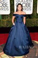 2016 La 73ª Globos de Oro bola del vestido de la alfombra roja vestidos de la celebridad Gina Rodríguez marina de guerra oscura Hombro Prom vestidos de noche formales