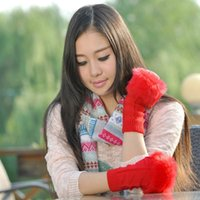 cotton knitted gloves - Cute Knitting Cotton Fingerless Mitten Knited Faux Fur Gloves for Women Girls Colors Available FG012