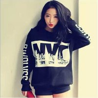 Cheap Models fall and winter clothes Korean stylenanda NYC personalized letters printed decorative retro long-sleeved sweater