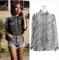 Wholesale Casual Ladies Lapel Collar OL Chiffon Zebra Print Pattern Top Blouse size S XL DH04