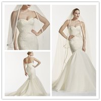 Wholesale NEW Ivory Truly Zac Posen Mermaid Wedding Dress with Lace Sweetheart Organza Beaded Court Train Backless Buitton Fall Bridal Dresses