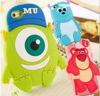 alien wallet - 3D Cute Cartoon Case Sulley One Eye Mike Wazowski Three Eyes Alien Soft Silicone Rubber Back Case Cover for iPhone S S Plus Samsung S6 S