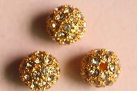 beading supplies charms - Gold Plated Metal Shamballa Bracelet Pave Disco Ball Loose Charms Metal Crystal Rhinestone Bead Spacer Findings Jewelry Beading Supplies D57