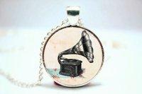 antique phonographs - 10pcs Phonograph Necklace Antique Vintage Style Music Lover Charm glass cabochon dome pendant necklace